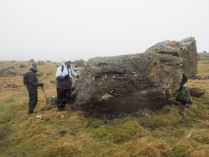 Gavin and David taking a look at one of boulders