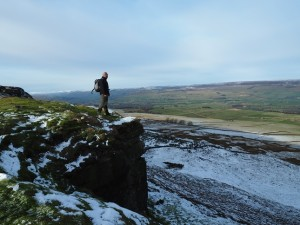 Enjoying a pose on Penhill Scar