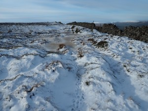 Plenty of snow on the thin path to Height of Hazeley
