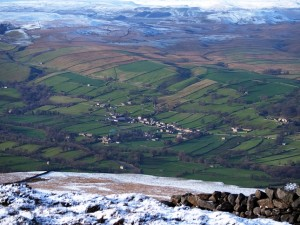 Looking down on Thoralby in Bishopdale