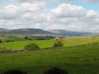 Looking up Ribblesdale towards Park Fell and Whernside