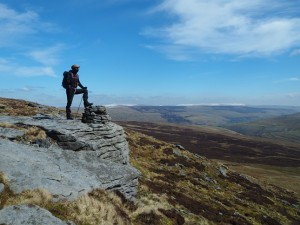 Matt on the cairn topped crag
