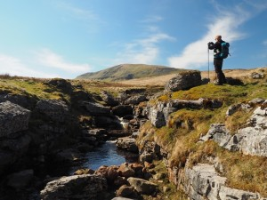 Matt looking towards Pen-y-ghent from Lockey Beck