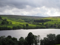 Looking across Gouthwaite Reservoir towards Burn Gill