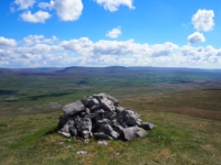 The cairn on Lord's Seat looking down over Ribblesdale