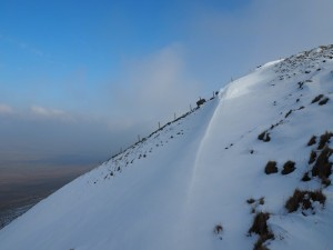 Smooth windblown snow on the edge of Simon Fell
