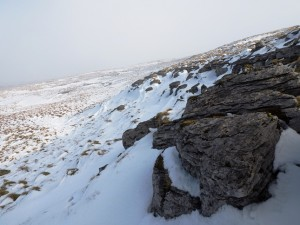 Some half buried rocks in the snow on Simon Fell