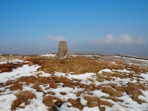 The trig point on the summit of Park Fell