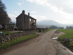 The house at Philpin with Ingleborough in the distance