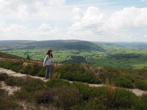 Rhiannon on the path with great views of Wharfedale