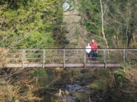 With Rhi on a footbridge over Eller Beck