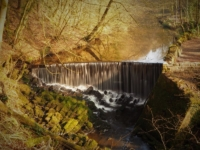 The waterfall in Skipton Castle Woods