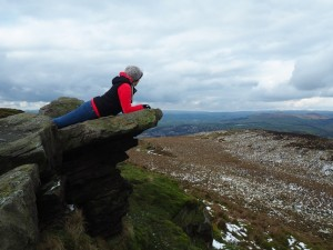 Lisa enjoying the view from Skipton Moor