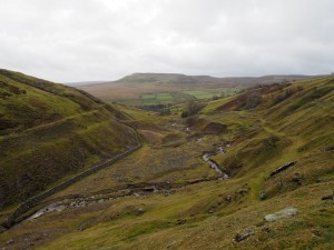 Looking back along Slei Gill towards Calver Hill