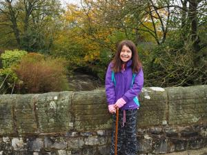 My daughter on the bridge in Stainforth