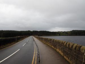 Crossing over Fewston Reservoir's dam