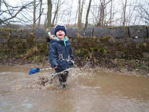 My nephew Daniel loved the massive puddles