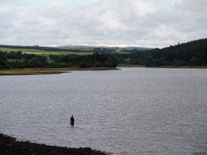 An angler on Fewston Reservoir