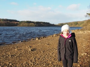 My daughter Rhiannon on the beach at the start of the walk