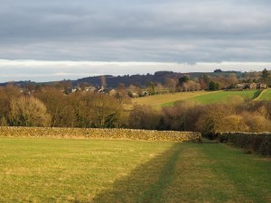 Descending the fields towards Darley Beck