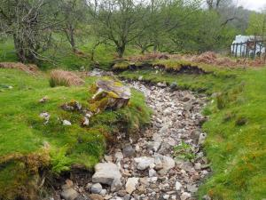The dry stream bed of Rowley Beck