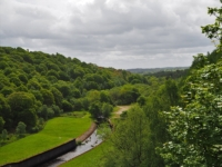 Looking down from the dam to the River Washburn