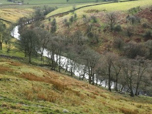 Looking down on the River Bain