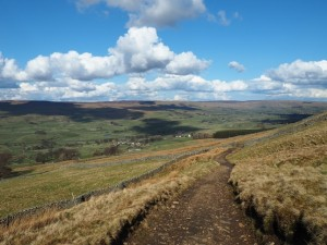 The view of Wensleydale from looking back down the track