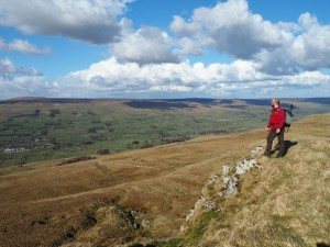 Enjoying the view of Wensleydale from Cavy Clints