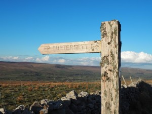 The sign pointing us back to Burtersett