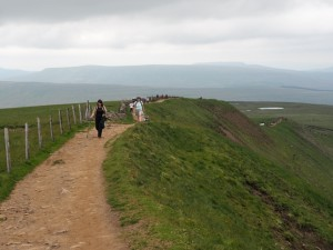 Walking along the summit ridge of Whernside