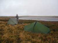 Our tents pitched at the smaller upper tarn