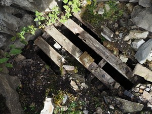 Covered pot hole at the end of Hooker Gill