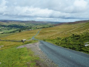 The road to Grinton with Calver Hill in the distance