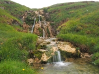 A small waterfall at the foot of Cowside Gill