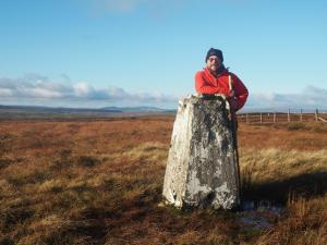 By the trig point on the summit of Yockenthwaite Moor