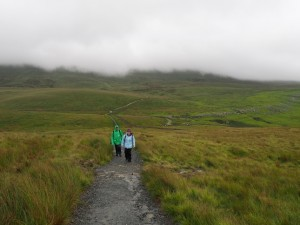 Pen-y-ghent still in the cloud as we take the path across Whitber Hill