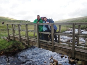 David, Kelly and Sara on the bridge over Little Dale Beck