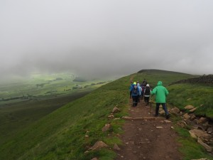 Coming out below the cloud again as we descend Whernside